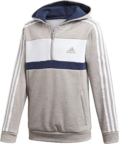 adidas Jungen Sports ID Full Zip Hooded Fleece Kapuzen-Sweatshirt, Grey Heather/White/Collegiate Navy, 152 - Grey Hooded Full Zip Sweatshirt