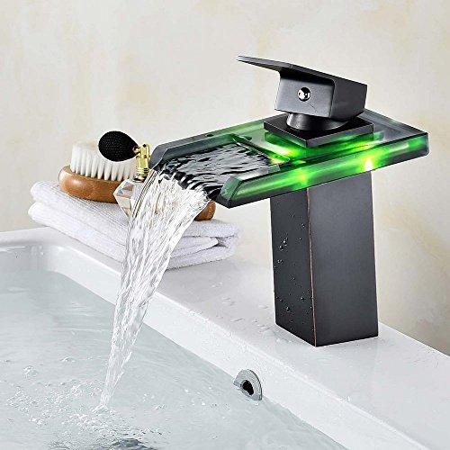 Rmckuva Waschtischarmaturen Waschbecken Wasserhahn Moderne Led-Licht Mit Wasserfall Effekt Einzigen Handgriff Wasserhahn Messing Mixer Hydro Schwarz - Glas-antike Bronze Ein Licht