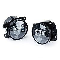 مصابيح الضباب LED Xprite مقاس 4 بوصة   مصباح الضباب CREE LED رقاقة ضباب لسيارات Jeep Wrangler Unlimited JK 2007-2018