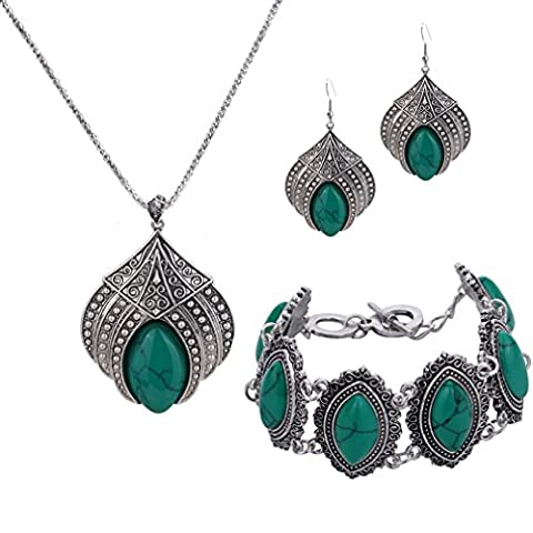 YAZILIND Jewelry Sets Silver Plated Retro Green Turquoise Flower Pendant