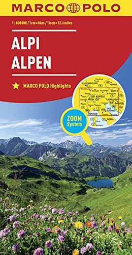 Preisvergleich Produktbild Alpy mapa: MARCO POLO Länderkarte Alpen 1:800 000 (MARCO POLO Länderkarten)