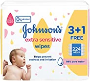 Johnson's Baby, Wipes, Extra Sensitive, 98% pure water, 3+1 packs of 56 wipes, 224 total count 2