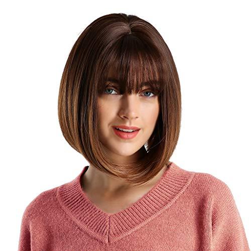 BfmyxgsLady Grau Braun Pink Gradient Wave Head Fashion Perücke mit Pony Style Natural Perücke Short Paragraph Perücke Natural Thick