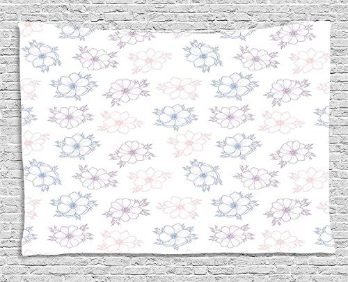 Rose Garden Bar Table (MLNHY Anemone Flower Tapestry, Bridal Corsage Design Garden Bedding Plants in Soft Colors, Wall Hanging for Bedroom Living Room Dorm, 80 W X 60 L Inches, Dried Rose Salmon Slate Blue)