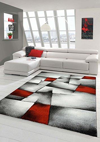 Designer Teppich Moderner Teppich Wohnzimmer Teppich Kurzflor Teppich mit Konturenschnitt Karo Muster Rot Grau Weiß Schwarz Größe 160x230 cm