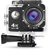 NexGadget Action Kamera 4K WiFi Ultra Full HD 16MP IP68 Wasserdichte Sports Actioncam Helmkamera Sport Kamera Action Camera 30fps mit Zubehör Kit, 170° Weitwinkel 2,0 Zoll LCD