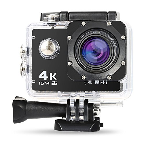 era 4K WiFi Ultra Full HD 16MP IP68 Wasserdichte Sports Actioncam Helmkamera Sport Kamera Action Camera 30fps mit Zubehör Kit, 170° Weitwinkel 2,0 Zoll LCD ()