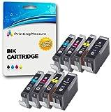 8 Druckerpatronen für Canon Pixma iP3300, iP3500, iX3300, iX3500, iX4000, iX5000, MP510, MP520, MP520X, MX700 | kompatibel zu Canon PGI-5BK, CLI-8C, CLI-8M, CLI-8Y