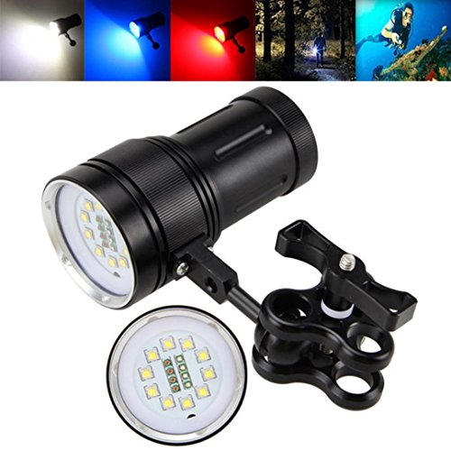 Flashlight,Rawdah Immersioni subacquee video impermeabili Torcia della torcia elettrica di immersione subacquea di 10x XM-L2 + 4x R + 4x B 12000LM LED Video Diving waterproof torch
