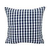 HUYURI Kissenbezüge blau karierten Streifen Polyester Baumwolle Bett Sofa Kissenbezug Home Decor Kissen 30cmX50cm und 45cmX45cm