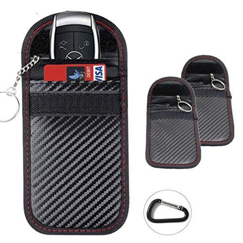 2X Autoschlüssel Tasche Keyless Go Schutz Fob Signalblocker Faraday Tasche Anti-Strahlung Abschirmung Brieftasche Fall für Datenschutz - WiFi, GSM, LTE, NFC & RFID(Rot schwarz) -