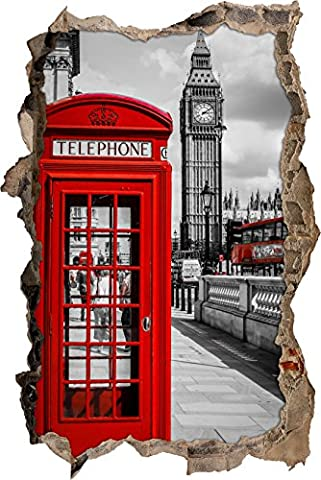 Londres cabine téléphonique murale percée en 3D look, mur ou format vignette de la porte: 92x62cm, stickers muraux, sticker mural, décoration murale
