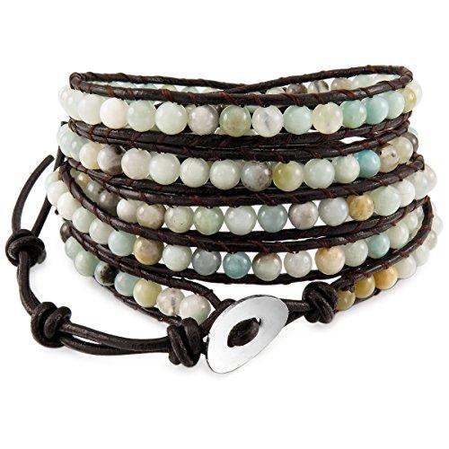 Munkimix lega vera pelle lega bracciali bracciale braccialetto bangle polsino corda amazzonite pietra perline 5 avvolgere regolabile donna,uomo