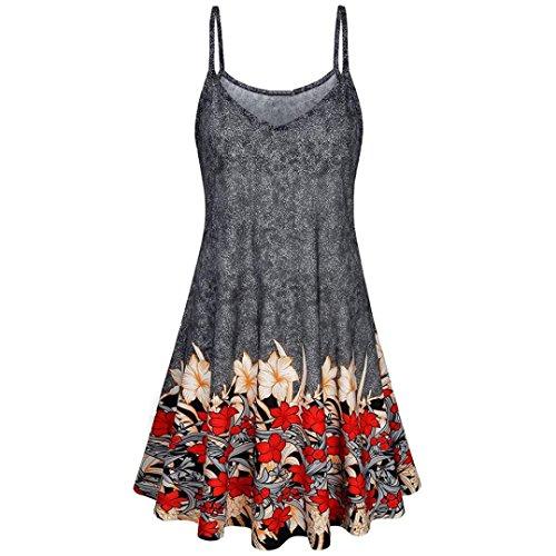 n Urlaub Reisen Schlank Beiläufiges Sleeveless Strap Floral Gedruckt Sommer Strand Swing Slip Kleid Faltenrock.(Grau,EU-54/CN-XL) (Saudi Arabische Kostüme Für Frauen)