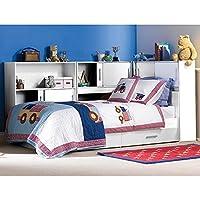Preisvergleich für Funktionsbett 90*200 cm weiß inkl. Regale + Bettkästen Kinderbett Jugendbett Jugendliege Bettliege Bett Jugendzimmer Kinderzimmer