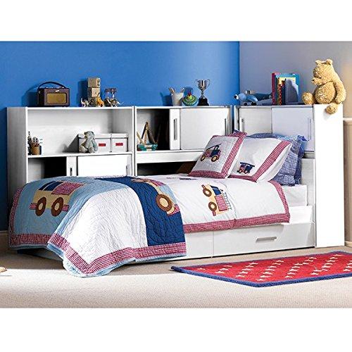 Funktionsbett 90*200 cm weiß inkl. Regale + Bettkästen Kinderbett Jugendbett Jugendliege Bettliege Bett Jugendzimmer Kinderzimmer
