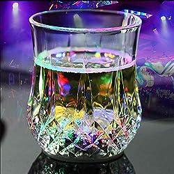 Askdasu - Vaso de cristal con luz LED que cambia de color con sensor de agua