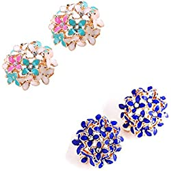 Jewels Galaxy Multicolour And Royal Blue Copper American Diamond Floral Stud Earrings Combo For Women