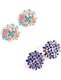 Jewels Galaxy Luxuria Trendy American Diamond Floral Designer Stunning Earrings For Women/Girls