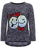 BEZLIT Mädchen Kinder Pullover Wende Pailletten Sweatshirt Meliert 22856 Blau Größe 146