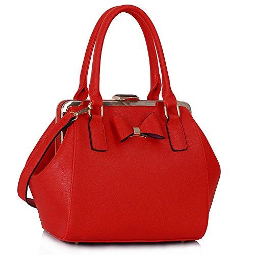 LeahWard® Damen Mädchen Niedlich Bogen Tasche Kunstleder Hoch Qualität Schnell verkaufend Modisch HnadTasche Tote CWS00258 Red