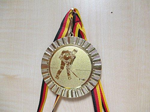 Fanshop Lünen Medaillen - Große Metall 70mm - mit Alu Emblem 50mm (Gold) - Eishockey - Kinder - Herren - mit Medaillen-Band - (e107) -