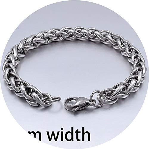 Herren Armband & Bangle-Weihnachtsgeschenk-Edelstahl-Armband-Silber-Farben-Link-Weizen-Doppelkettenschmucksachen, 8Mm Weizen Kette, 19cm (Fußkettchen-zehe-ring-set)