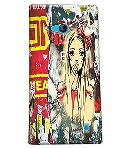 Fuson Cute Girl Back Case Cover for NOKIA LUMIA 730 - D4048