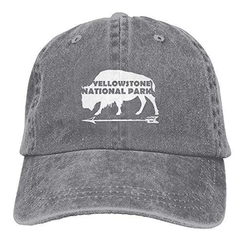 UUOnly Yellowstone-Nationalpark-Alter zuverlässiger Büffel Gewaschene Retro justierbare Jeans-Kappen-Fernlastfahrer-Hüte für Frauen und Männer