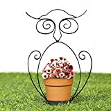 Valery Madelyn Frühling Deko Übertöpfe Blumentopf Metall Garten Innendekoration mit Eule Stand Struktur und Keramiktopf, Pflanze Nicht inkl. 22,5 × 14 × 7,2 cm