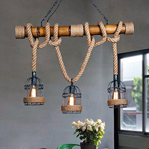 Europ?ische pastorale dekorative Beleuchtung Bar Restaurant kreative Kunst Beleuchtung Bambus Seil Lampe Kronleuchter (Pl Bad Kunst)