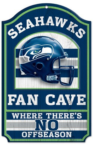 Seattle Seahawks Holz Schild – 27,9 x 43,2 cm Fan Cave Design (Holz Seattle)