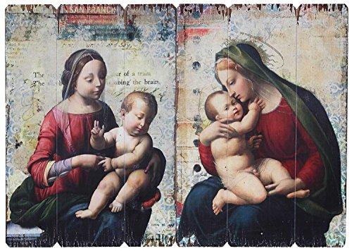 2x Ikone Bild Maria Jesus Kind Holz Holztafel Druck Kirche Antik-Stil Madonna