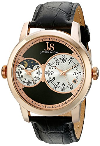 Joshua & Sons Men's JS87RG Rose Gold-Tone Watch With Black Leather Band