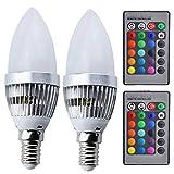 3W E14 Culot RGBW LED Ampoule de Luxvista 16 Couleurs Changement par Télécommande...
