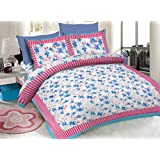 Amigos 120 TC Cotton Double Bedsheet With 2 Pillow Cover Bedding Set Bed Cover Printed Bedsheet (Pink Multi With Sky Blue)