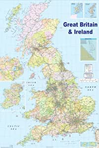 HUGE LAMINATED ENCAPSULATED MAP OF THE UK 2009 GB Great Britain POSTER Measures 36 x 24 inches (90 x 61 cm)