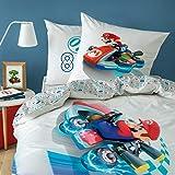 CTI, set copripiumino reversibile Super Mario Kart, 135 x 200 cm 80 x 80 cm, 100% cotone, Speed, linone