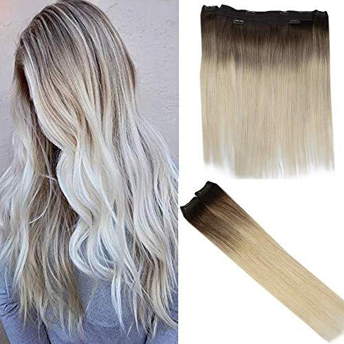 Easyouth 120g pro Paket Lace Clip auf Menschenhaarverlängerungs 18 Zoll Farbe 7B Verblassen mit Farbe 613 Blonde 2Pcs 30g Lace Clip auf Haar mit 1 Stück 90g Halo Piece Extension.