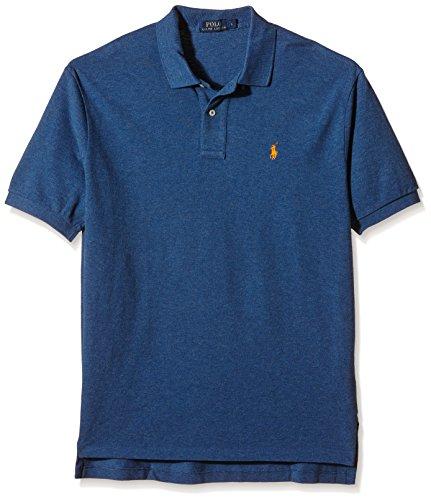 Ralph Lauren Herren Polo - Blau meliert - Custom Fit - Reiter in Orange (M, Blau)