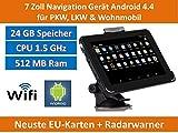 Elebest 17,8cm 7 Zoll Android 4.4,PKW,GPS,Navigationsgerät,Navigation,WIFI,Wohnmobil, Neuste Europa Karten sowie Radarwarner,Tablet PC,Internet,Wohnmobil,LKW,Auto,24GB Speicher,CPU 1.5GHz,GPS,HD Display,AV-IN,Radarwarner,Neu