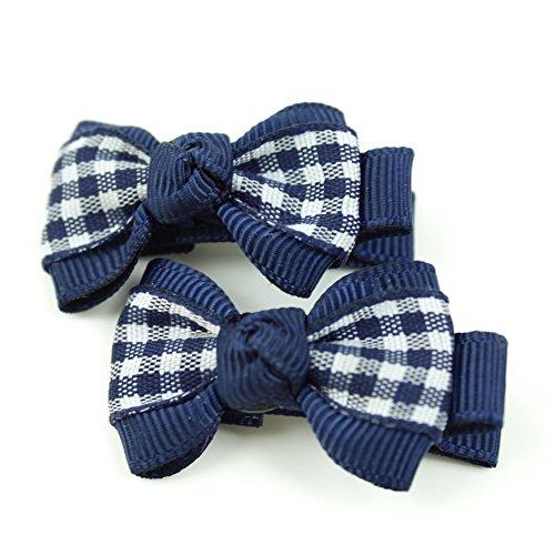 rougecaramel - Accessoires cheveux - Pince cheveux enfant 2pcs motif carreau - bleu marine