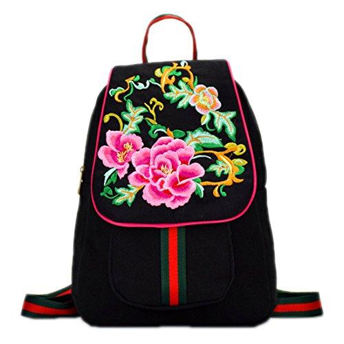 Vintage Leinwand Pfingstrose Blumen Stickerei Rucksack Floral bestickt Rucksack Travel Beach Rucksack Schultasche Frau schwarz -