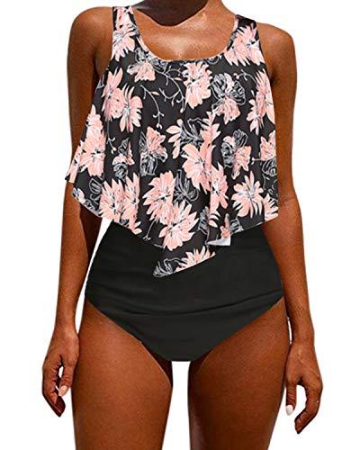 Kidsform Damen Bikini Set Hoher Taille Bademode Zweiteilige Badeanzug mit Volant Neckholder Bikini Retro Oberteil und Bikinihose -