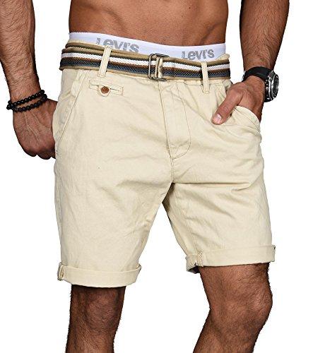 Indicode Herren Sommer Bermuda Chino Shorts kurze Hose Sommerhose Short NEU B499 [B499-Beige-Gr.XXL]