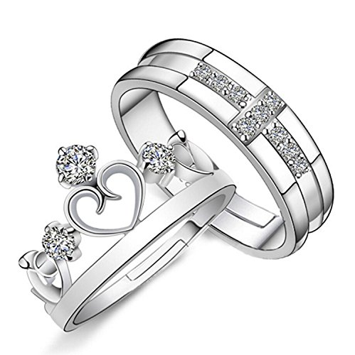 Moneekar Jewels 925 Sterling Silver Plated Prince And Princess Crown Couple Rings...