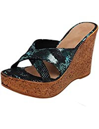 Catwalk Women's Printed Cross Strap Wedges