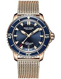 Reef Tiger RGA3035 - Reloj de Pulsera para Hombre, diseño de Buceo, Color Oro