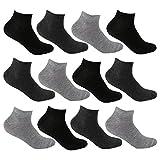 12 Paar Sneaker Socken Damen Kurzsocken Füßlinge atmungsaktive Baumwolle in Schwarz Weiß und Grau L&K-II 92201VA