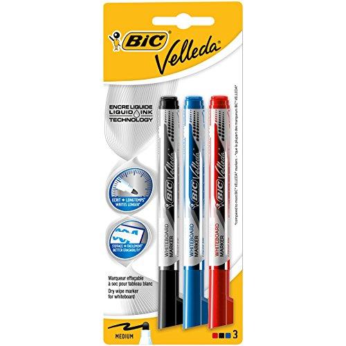 BIC Velleda - Blíster de 3 marcadores para pizarra blanca, colores azul, negro y rojo